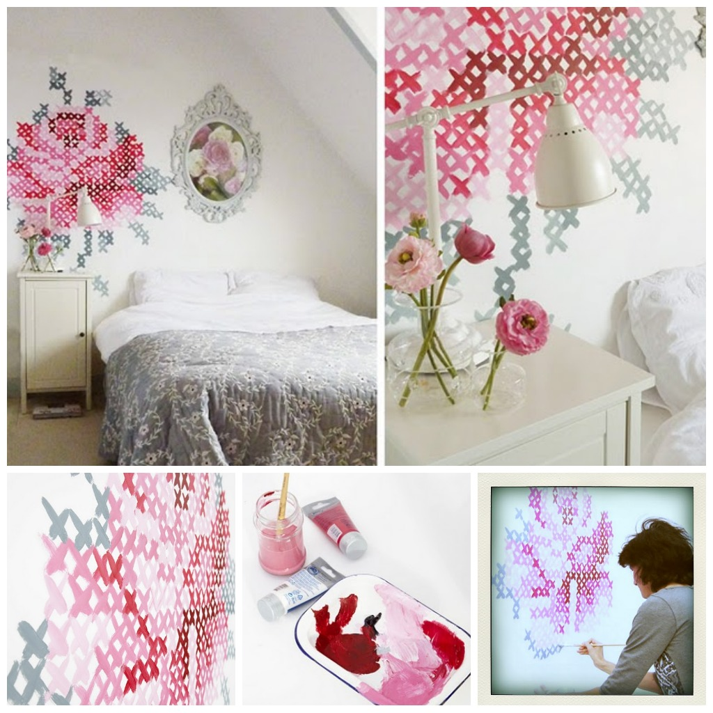 Follyandglee cross stitch murals on the brain for Cross stitch wall mural