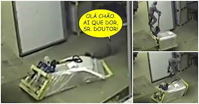 Trabalhador cai de cara no chão ao descarregar palete de camião