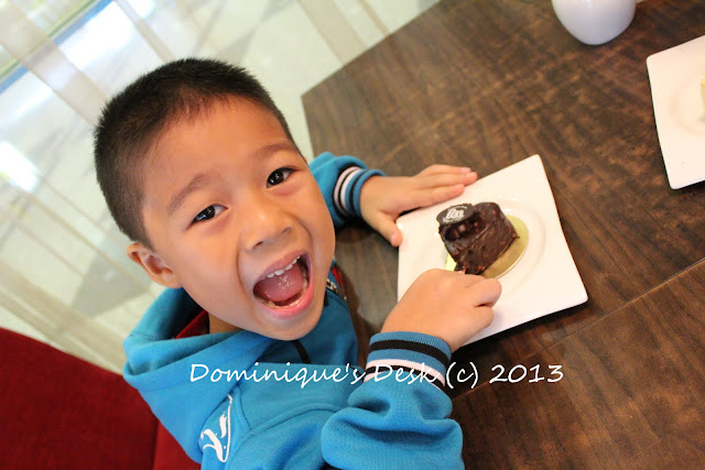 Doggie boy posing with his heart shaped chocolate cake