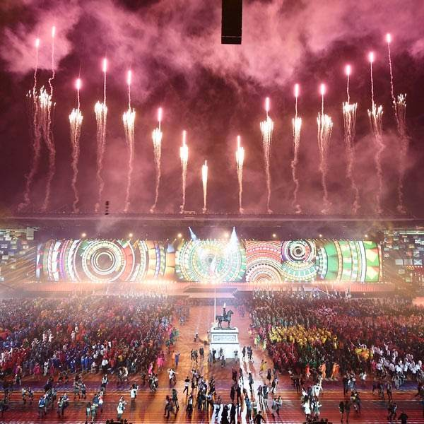 Artists perform during the opening ceremony of the 2014 Commonwealth Games at Celtic Park in Glasgow on July 23, 2014.