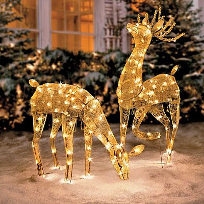 Gold Mesh Lighted Reindeer Set - Improvements