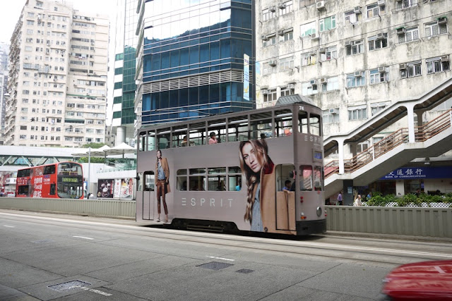 Tram in Hong Kong with Esprit advertising