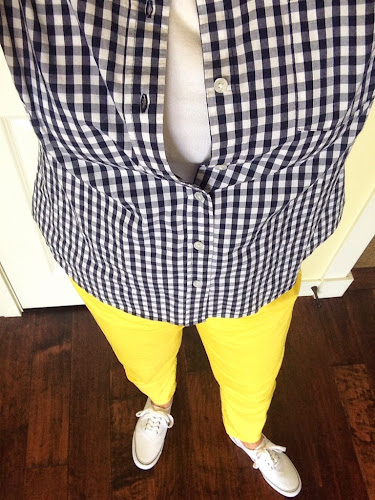 Navy checked blouse, yellow skinny jeans, fashion Friday
