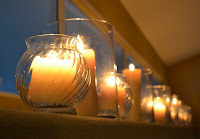 Candles add elegance to the party's ambiance.
