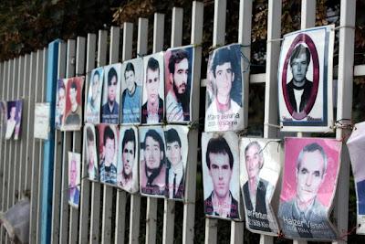 Photo memorial in Pristina Kosovo