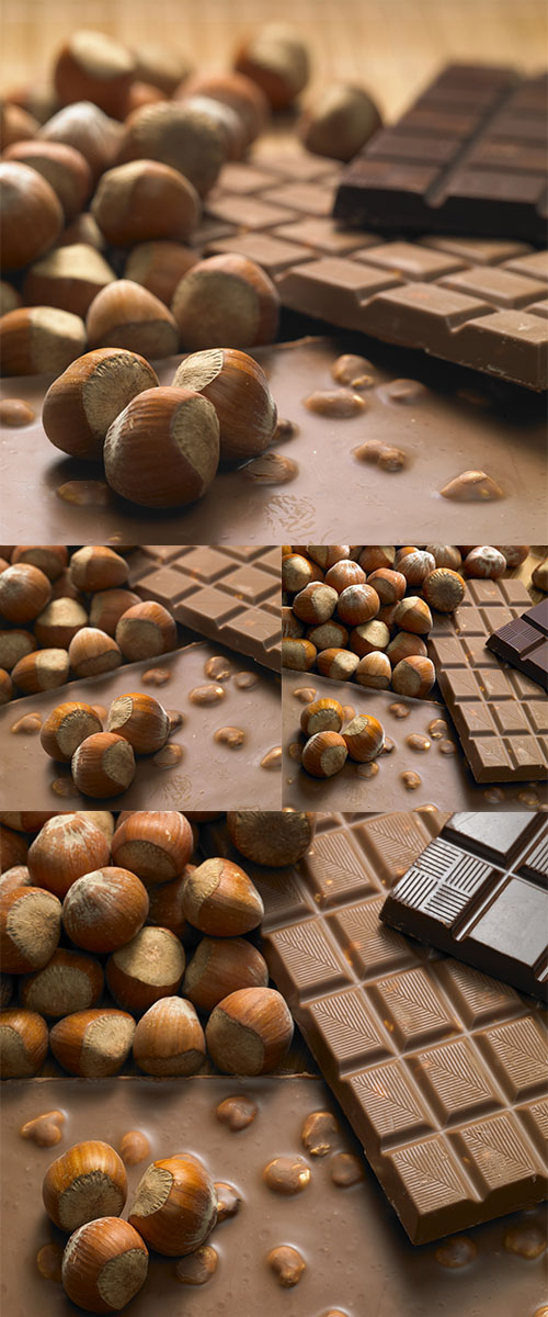 Stock Photo: Chocolate bars with hazelnuts