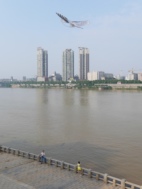 man flying a bird kite next to the Xiang River in Hengyang