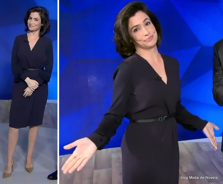 moda do programa Fantástico - look da Renata Vasconcellos com vestido manga longa dia 24 de agosto