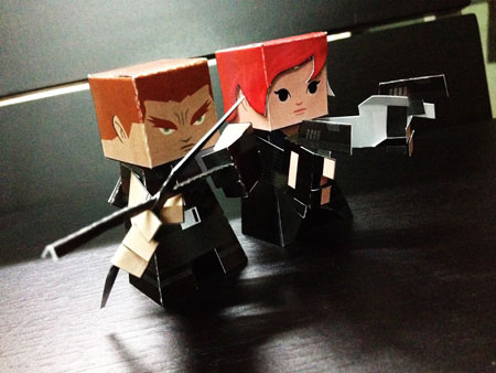 Hawkeye Black Widow Paper Toy