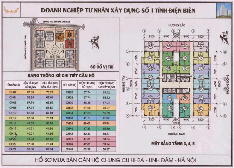 thiết kế măt bằng căn hộ tầng 3 4 5 chung cư hh2a hh2b hh2c linh đàm
