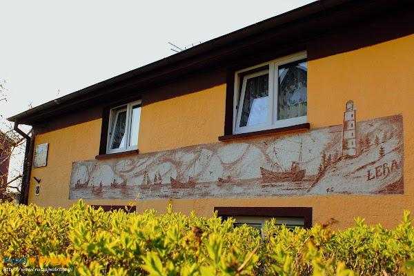Łeba - mural promujący miasto