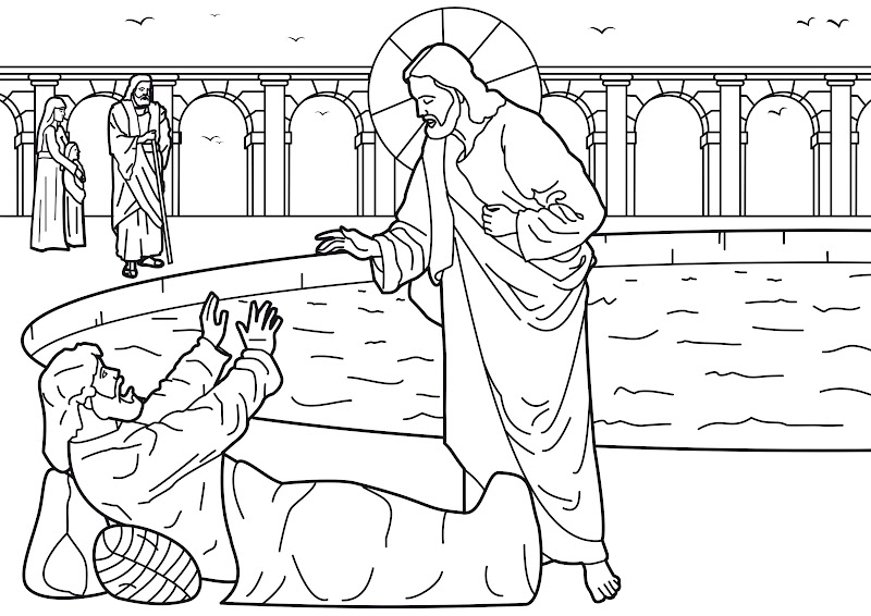 healing of the man at the pool of bethesda coloring pages