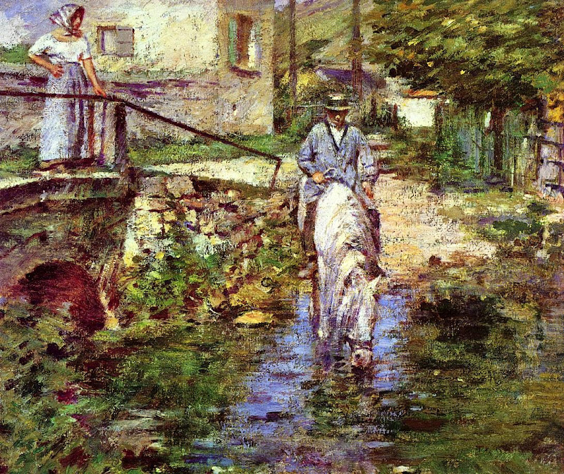 Theodore Robinson - Pere Trogon and His Daughter at the Bridge