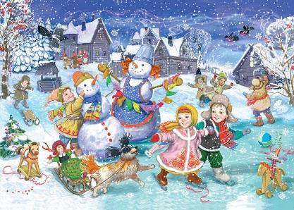 Изысканные Рисунки зимние забавы