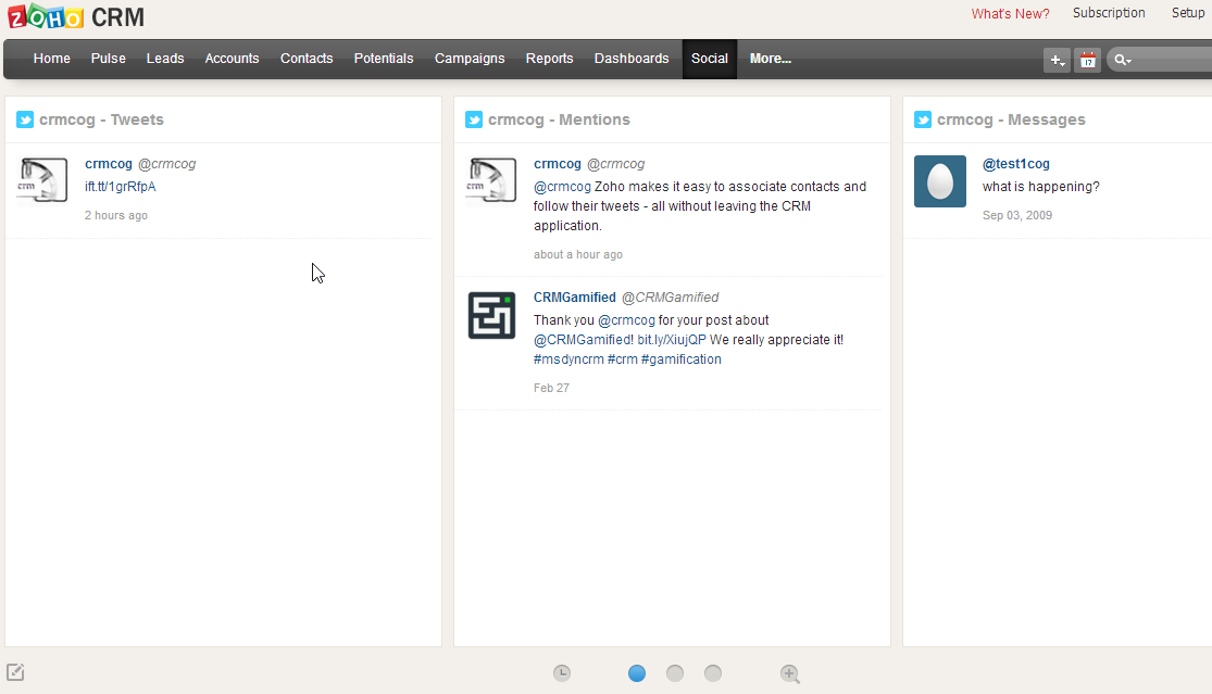 zoho social tab monitor