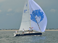 J/95 shoal-draft sailboat- sailing off Barnegat Bay, New Jerssey