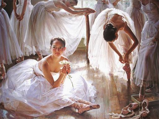 wall art Ballet dancing girls printed oil painting WK--