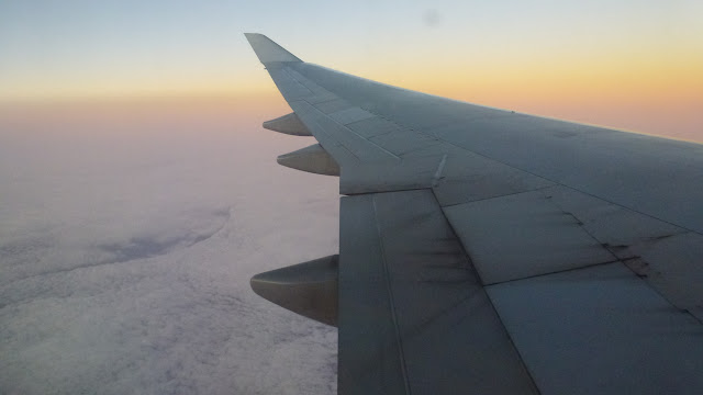 Dawn light across the aircraft's wing