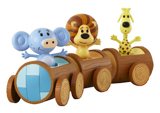 Raa raa the noisy lion and friends riding Huffty's toy train set