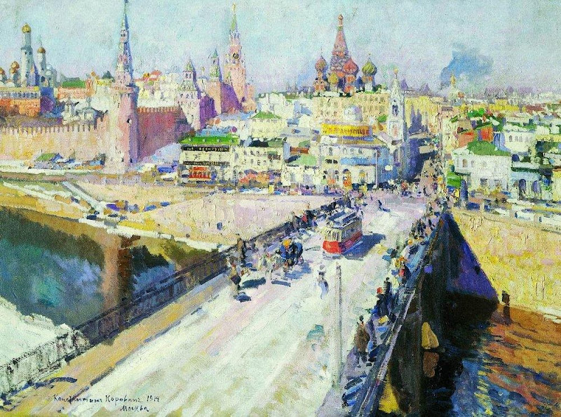 Konstantin Korovin - The Moskva River Bridge