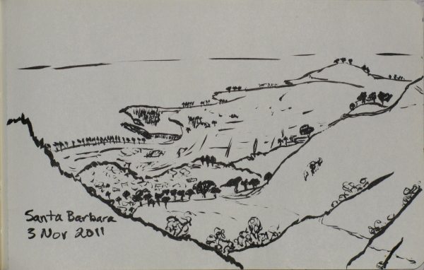 sketch of the city below, somewhat obscured