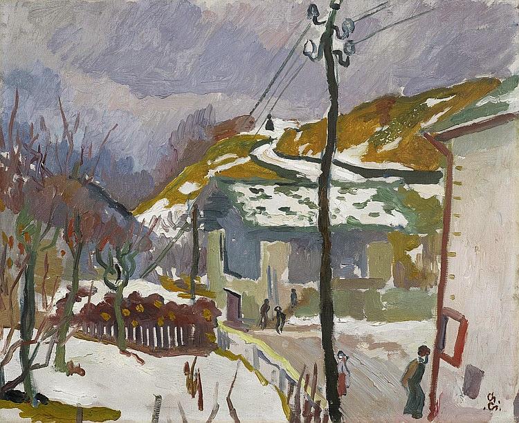 Giovanni Giacometti - Strada, sciogliere della neve (melting snow). Circa 1915