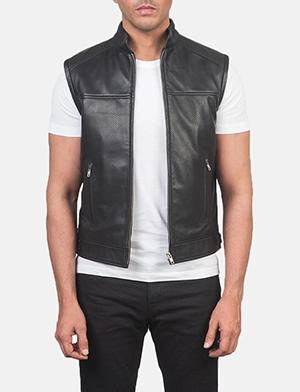 Roland Black Leather Biker Vest