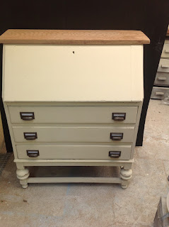 Vintage bureau painted, new handles, & a new oak top fitted.