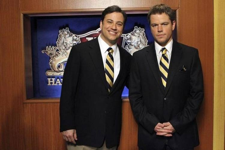 El presentador Jimmy Kimmel con Matt Damon