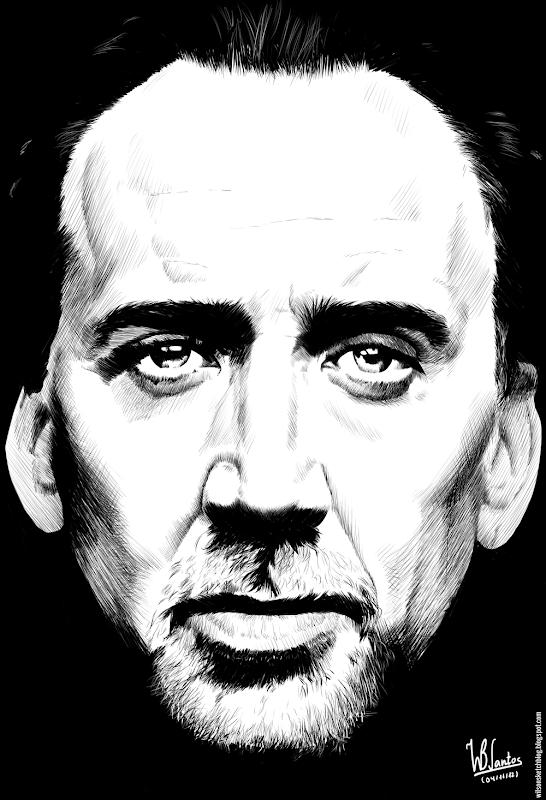 Ink drawing of Nicolas Cage, using Krita 2.4.