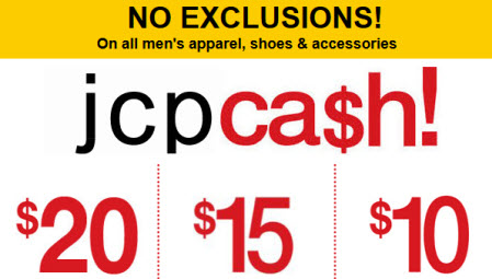 JCP cash all men appareal
