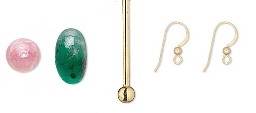 Materials for Making Emerald and Rhodochrosite Earrings
