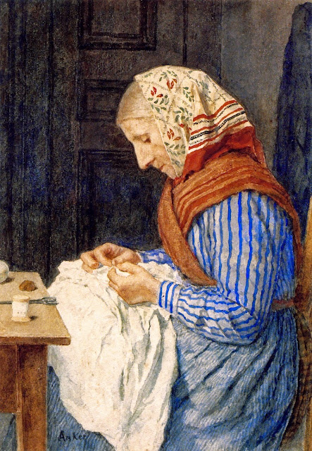 Albert Anker - A Farmer's Wife, Sewing