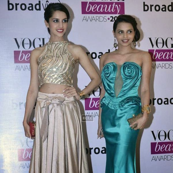 fbb Femina Miss India World 2014 Koyal Rana poses with fbb Femina Miss India 2014 second runner-up Gail Nicole Da Silva during Vogue Beauty Awards 2014, held at Hotel Taj Lands End in Mumbai, on July 22, 2014.(Pic: Viral Bhayani)