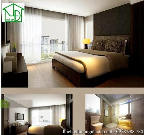 Thiết kế nội thất phòng ngủ 1 với phòng tắm hiện đại, phòng ngủ được thiết kế với tầm nhìn đươc mở rộng ra bên ngoài