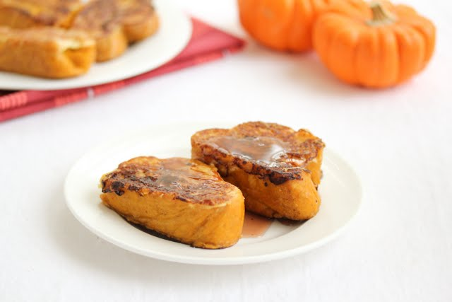 photo of two slices of Pumpkin Spice French Toast on a plate