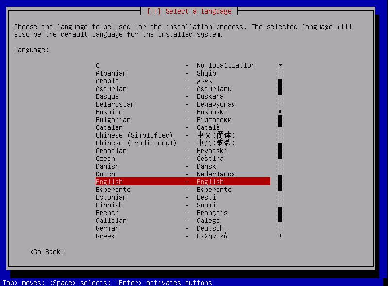 Выберите язык инсталлятора Debian.