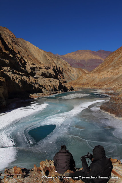 Enjoying the beauty of the partially frozen Zanskar river