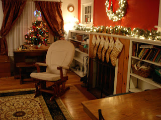 my living room, decorated for Christmas