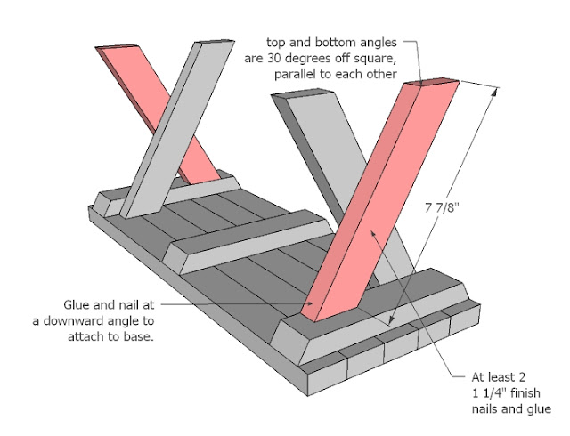 Then attach remaining shorter legs as shown in diagram. Don't forget the  glue on these legs - it is very important. - Ana White Doll X Picnic Table And Bench Set - DIY Projects