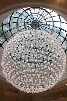 Baccarat chandelier at the Corinthia Hotel in London England