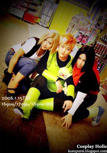 dragon ball z cosplay - android 18, 16, and 17