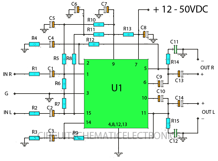 stereo 30w stk ics amplifier circuit diy circuit rh avecircuits blogspot com Amplifier Schematic Symbol Amplifier Diagram