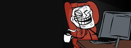 Portada para facebook de Meme troll tomando café
