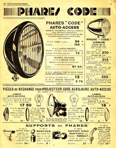 Eclairage electrique Phares_code