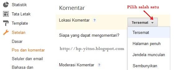 cara seting komentar blogspot