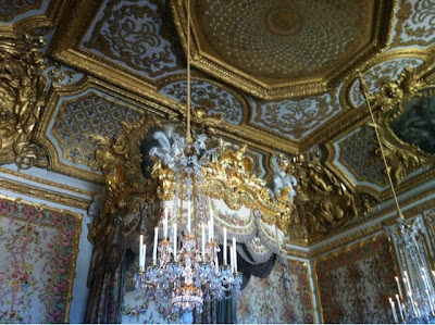 Marie Antoinette's bedroom chandelier and ceiling inside Le Chateau de Versailles, french for The Palace of Versailles, just outside Paris, France www.thebrighterwriter.blogspot.com