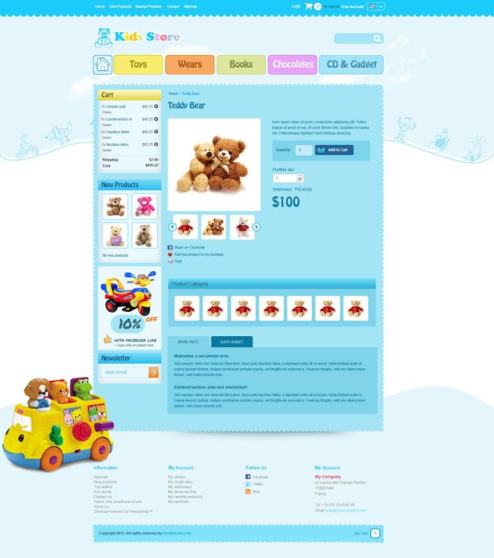 Kid Stores Web Template - Product Detail