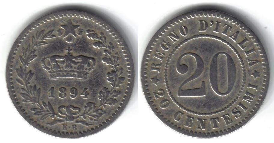 Mi colección de monedas italianas. 20%20centesimi%201894%20K.B
