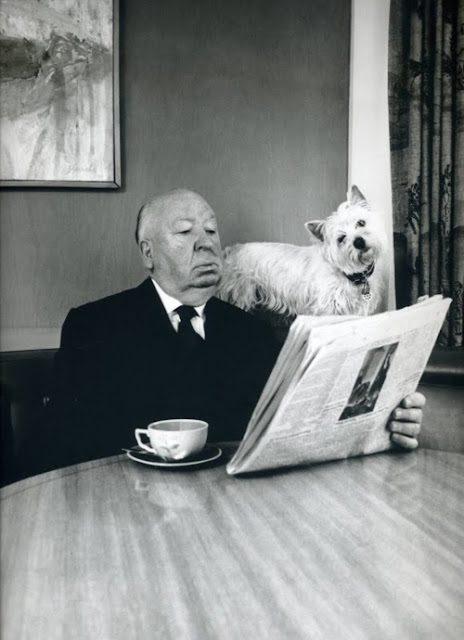 Alfred Hitchcock and his dog